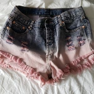 Signature8 ombre high waisted Jean shorts